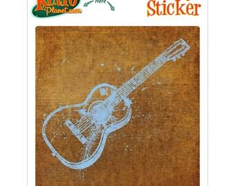 Guitar Distressed Musical Vinyl Sticker - #63794