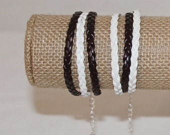 MutiLayer Friendship Trend Bracelet Brown and White 3 Layers / Rows
