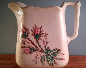 Antique Knowles Taylor and Knowles Ironstone China Pitcher with Moss Rose Pattern.