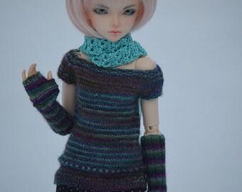 Handknitted tunic&mittens for Minifee, Narae, Slim MSD
