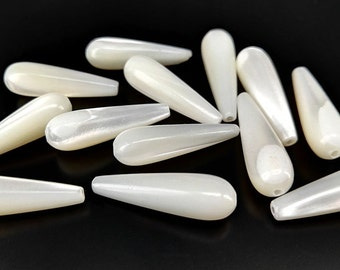"""Full Strand 16"""" 20x6mm White Mother Of Pearl Briolette Beads White Mop Long Teardrop Beads"""