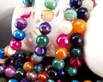 Full Strand 10mm 38pcs Multi Color Lace Agate Round Faceted Agate Gemstone Beads