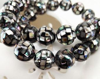 10pcs 10mm Abalone Smooth Round Mosaic Beads Abalone MOP Shell Mosaic Beads