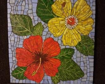 Hibiscus Flowers Mosaic Wall Art