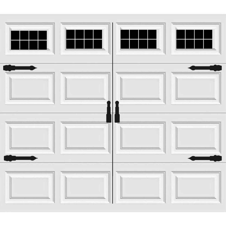 Carriage house style vinyl garage door decal kit faux windows for 1 5 car garage door