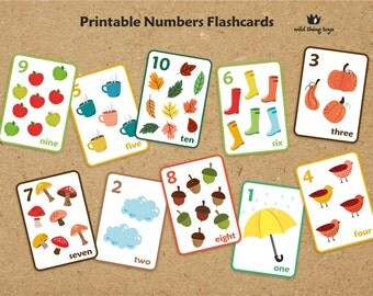 Autumn, Fall, Nature Counting Numbers Flash cards for school, nursery art, wall cards