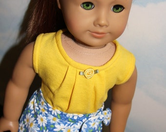 18 Inch Doll (like American Girl) Blue and Yellow Daisy Print Sarong Skirt with Yellow Tank Top
