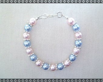 pink bracelet, swarovski bracelet, pink and blue bracelet, blue and pink,