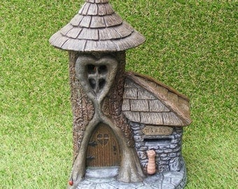 Fairy Wish House Post Box Garden Ornament  Pixie Faerie Led Light Trunkwood