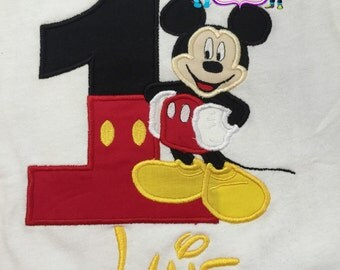 Mickey Mouse Embroidered Shirt, Mickey Mouse Birthday Shirt, Mickey Mouse
