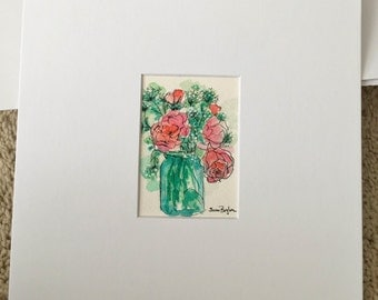 ACEO Original Watercolor Matted