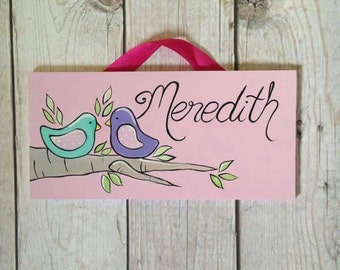 Little Birds on Branch personalized name sign for Nursery or child's room