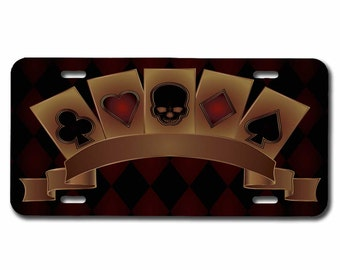 Poker ,Vanity License Plate,Skull, Playing Cards, Flush,SLP_004