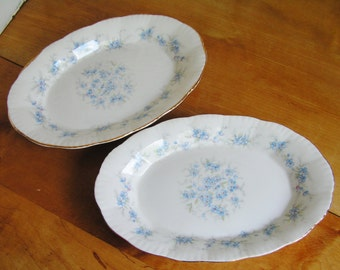 2 Vintage Oval Small Plates in Paragon PETIT FLEURS Pattern English Bone China Made in England Cottage Chic Blue Flowers