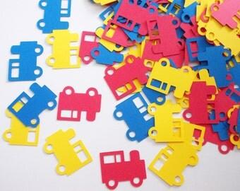 Train Confetti, Train Cutouts, Transportation Theme, Boy Birthday Party Decoration, Table Confetti, 100 CT.