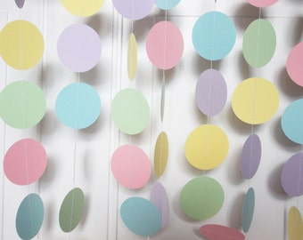Party Paper Circle Garland, Pastel Rainbow Garland, Baby Shower, Gender Neutral, Birthday, Party Decoration, 12', Ships in 2-5 Business Days