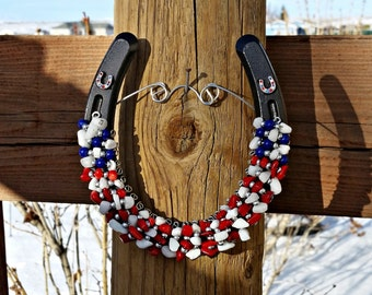 Red, White, And Blue Horseshoe, Patriotic Horseshoe, Flag Horseshoe