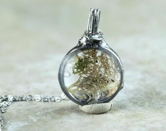 Moss Pendant Botanical Jewelry Soldered Glass Pendant Real Moss Pendant Natural Woodland Jewelry Rustic
