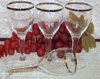 "4 Pc Set Delicate Crystal Clear Glass W/ Silver Trim 5"" Stemmed 4 Oz Cordials"