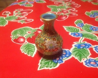 Vintage small beautiful cloisonné bottle or vase with floral designs