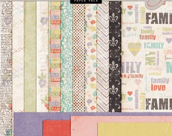 Family Heritage DIGITAL Scrapbook Papers - Vintage Style Papers - INSTANT DOWNLOAD