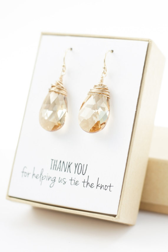 champagne gold swarovski crystal earrings (large, wire wrapped)