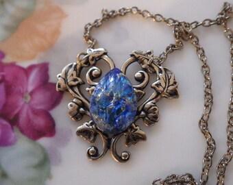 Sapphire Blue Opal ~ Pendant ~ Art Nouveau Style ~ Vintage Glass ~ Blue Harlequin ~ Vintage Style ~ by LadyofTheLakeJewels