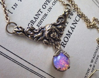 Pink Opal ~ Pendant ~ Art Nouveau ~ Vintage Style ~ Necklace ~ Vintage Glass ~ by LadyofTheLakeJewels