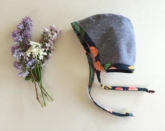 Reversible Baby Bonnet // Vintage style hat // Modern Bonnet