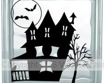 Haunted House (bats and full moon) - Halloween Vinyl Lettering for Glass Blocks - Craft Decals