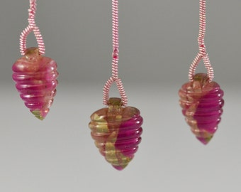 Set of Three Watermelon Tourmalines Hand Carved Drilled Pendants