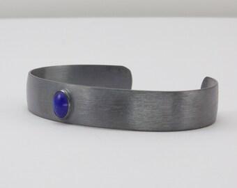 Sterling Silver Cuff Bracelet -  Oxidized Silver Cuff Bracelet - Cuff with Bezel Set Lapis Cabochon - Men's Cuff - Art Metal Cuff
