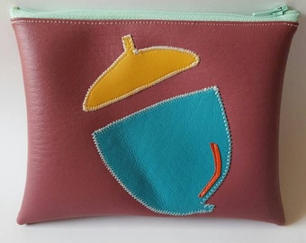 Small dusty rose, teal, mauve acorn wallet pouch