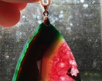 Gorgeous watermelon agate geode pendant necklace.