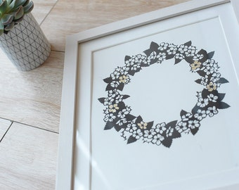 Flower wreath screenprint with gold leaf - original papercut screen print