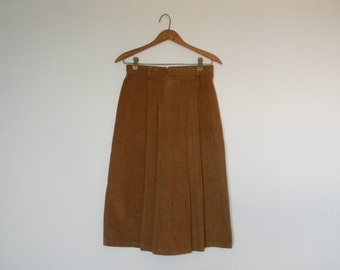 FREE usa SHIPPING Vintage women's corduroy caramel brown midi skirt high waisted paneled skirt cotton polyester hippie boho size 11