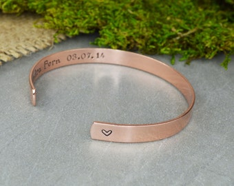 Love Bracelet with Custom Date Hand Stamped Aluminum Brass or Copper Bracelet - Wedding Gift