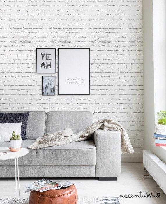 Sale Removable Wallpaper White Brick Modern Clean By
