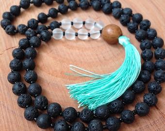 Black Lava Stone Beaded Necklace, Beaded Mala Necklace, Mint Tassel Necklace, Beaded Yoga Necklace, Tassel Necklace, Yoga Jewelry, Yoga