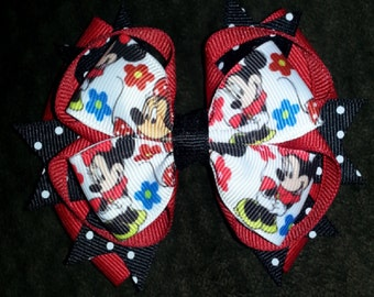 Minnie Mouse Handmade Stacked Boutique Bow