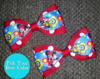 Minnie Mouse Handmade Pigtail Bow Set