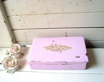 Pink and Gold Ornate Jewelry Box, Carved Wooden Jewelry Holder, Light Pink Trinket Box, Gift Ideas, Shabby Chic Jewelry Box