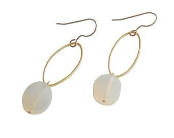 Oval Drop Earrings: Geometric Earrings; Oval Earrings; Gemstone Earrings