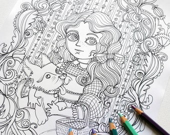 coloring page jpg the wonderful wizard of oz dorothy and toto portrait l