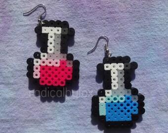 Health and Mana Potion Earrings - Perler Bead Jewelry
