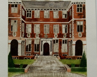Ham House, Richmond, Surrey, an original collagraph print