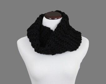 Black Knit Wool Cowl