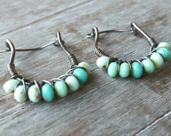 Wire-wrapped Hoop Earrings in Sky Blue - Copper Rustic Hoop Earrings - Copper Earrings - Blue Earrings