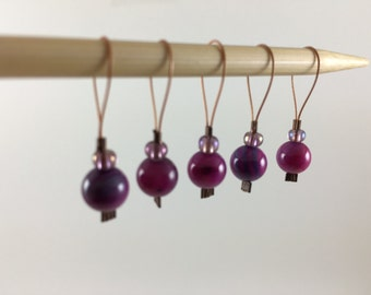 Handmade Pink River Shell Stitch Markers