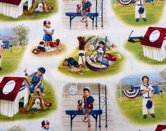 Playground for boys, baseball, fabric